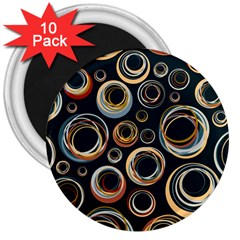 Seamless Cubes Texture Circle Black Orange Red Color Rainbow 3  Magnets (10 pack)