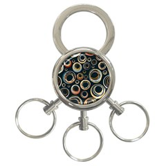 Seamless Cubes Texture Circle Black Orange Red Color Rainbow 3-Ring Key Chains