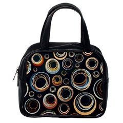 Seamless Cubes Texture Circle Black Orange Red Color Rainbow Classic Handbags (One Side)