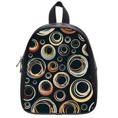 Seamless Cubes Texture Circle Black Orange Red Color Rainbow School Bags (Small)