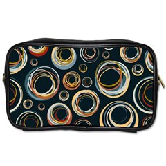 Seamless Cubes Texture Circle Black Orange Red Color Rainbow Toiletries Bags 2-Side