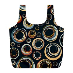 Seamless Cubes Texture Circle Black Orange Red Color Rainbow Full Print Recycle Bags (L)