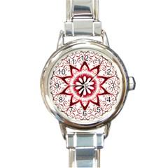 Prismatic Flower Floral Star Gold Red Orange Round Italian Charm Watch