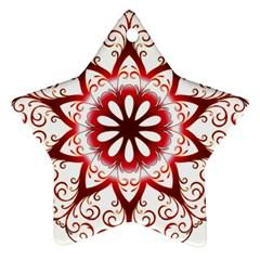 Prismatic Flower Floral Star Gold Red Orange Ornament (Star)