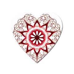 Prismatic Flower Floral Star Gold Red Orange Heart Magnet