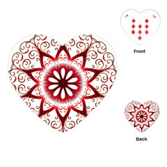 Prismatic Flower Floral Star Gold Red Orange Playing Cards (Heart)
