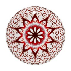 Prismatic Flower Floral Star Gold Red Orange Round Ornament (two Sides)
