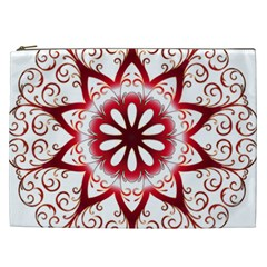 Prismatic Flower Floral Star Gold Red Orange Cosmetic Bag (XXL)
