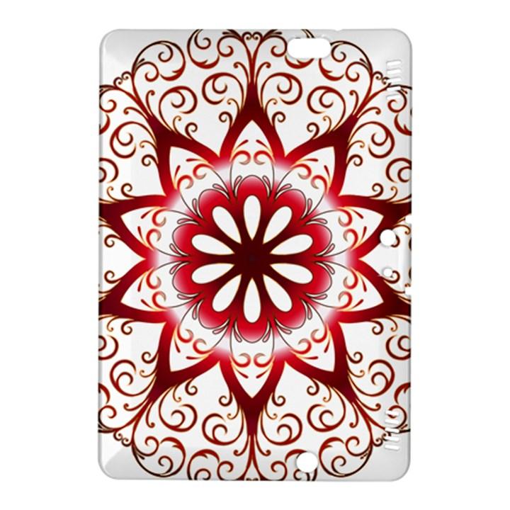 Prismatic Flower Floral Star Gold Red Orange Kindle Fire HDX 8.9  Hardshell Case