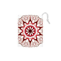 Prismatic Flower Floral Star Gold Red Orange Drawstring Pouches (XS)