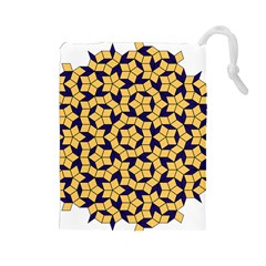 Star Orange Blue Drawstring Pouches (Large)