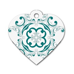 Vintage Floral Star Flower Blue Dog Tag Heart (One Side)