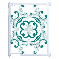 Vintage Floral Star Flower Blue Apple iPad 2 Case (White)
