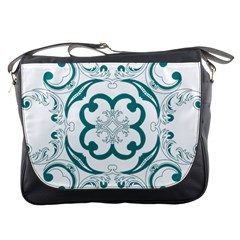 Vintage Floral Star Flower Blue Messenger Bags