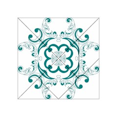 Vintage Floral Star Flower Blue Acrylic Tangram Puzzle (4  x 4 )