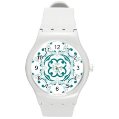 Vintage Floral Star Flower Blue Round Plastic Sport Watch (M)