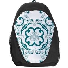 Vintage Floral Star Flower Blue Backpack Bag
