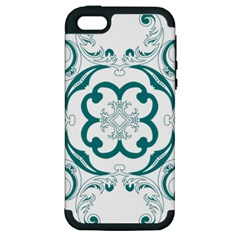 Vintage Floral Star Flower Blue Apple Iphone 5 Hardshell Case (pc+silicone)