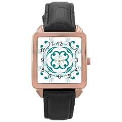 Vintage Floral Star Flower Blue Rose Gold Leather Watch