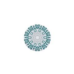 Vintage Floral Star Blue Green 1  Mini Magnets