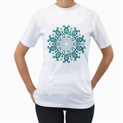 Vintage Floral Star Blue Green Women s T-Shirt (White) (Two Sided)