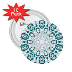Vintage Floral Star Blue Green 2.25  Buttons (10 pack)