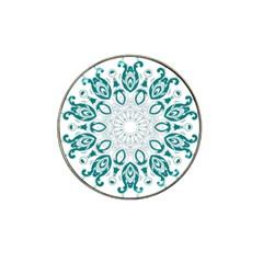 Vintage Floral Star Blue Green Hat Clip Ball Marker (4 Pack)