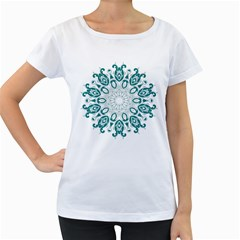 Vintage Floral Star Blue Green Women s Loose Fit T Shirt (white)