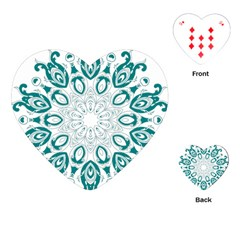 Vintage Floral Star Blue Green Playing Cards (Heart)