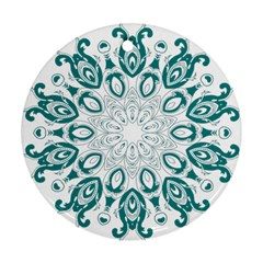 Vintage Floral Star Blue Green Round Ornament (two Sides)