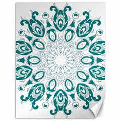 Vintage Floral Star Blue Green Canvas 12  x 16
