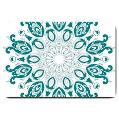 Vintage Floral Star Blue Green Large Doormat
