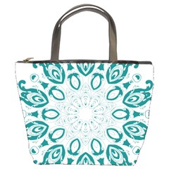 Vintage Floral Star Blue Green Bucket Bags