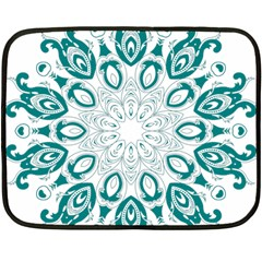 Vintage Floral Star Blue Green Fleece Blanket (mini)