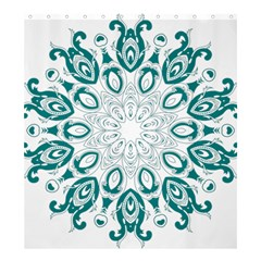 Vintage Floral Star Blue Green Shower Curtain 66  x 72  (Large)