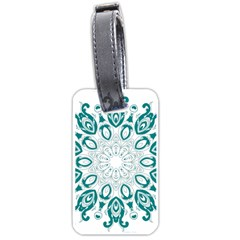 Vintage Floral Star Blue Green Luggage Tags (Two Sides)