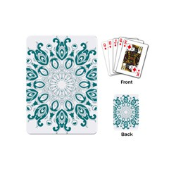 Vintage Floral Star Blue Green Playing Cards (Mini)
