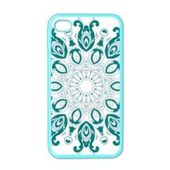 Vintage Floral Star Blue Green Apple iPhone 4 Case (Color)