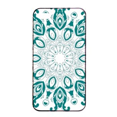 Vintage Floral Star Blue Green Apple iPhone 4/4s Seamless Case (Black)