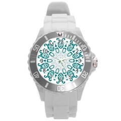 Vintage Floral Star Blue Green Round Plastic Sport Watch (L)