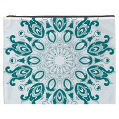 Vintage Floral Star Blue Green Cosmetic Bag (xxxl)