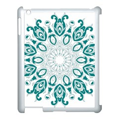Vintage Floral Star Blue Green Apple iPad 3/4 Case (White)