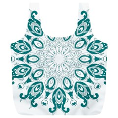 Vintage Floral Star Blue Green Full Print Recycle Bags (L)