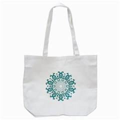 Vintage Floral Star Blue Green Tote Bag (White)