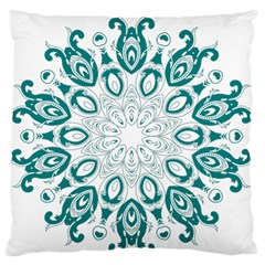 Vintage Floral Star Blue Green Large Flano Cushion Case (Two Sides)
