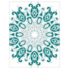 Vintage Floral Star Blue Green Drawstring Bag (Large)