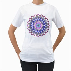Prismatic Line Star Flower Rainbow Women s T-Shirt (White) (Two Sided)