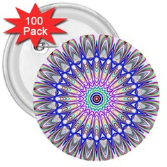 Prismatic Line Star Flower Rainbow 3  Buttons (100 Pack)