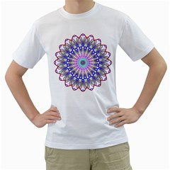 Prismatic Line Star Flower Rainbow Men s T-Shirt (White) (Two Sided)
