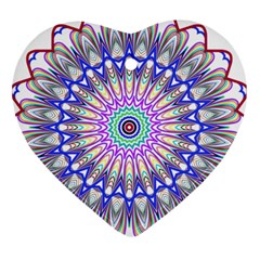 Prismatic Line Star Flower Rainbow Heart Ornament (Two Sides)